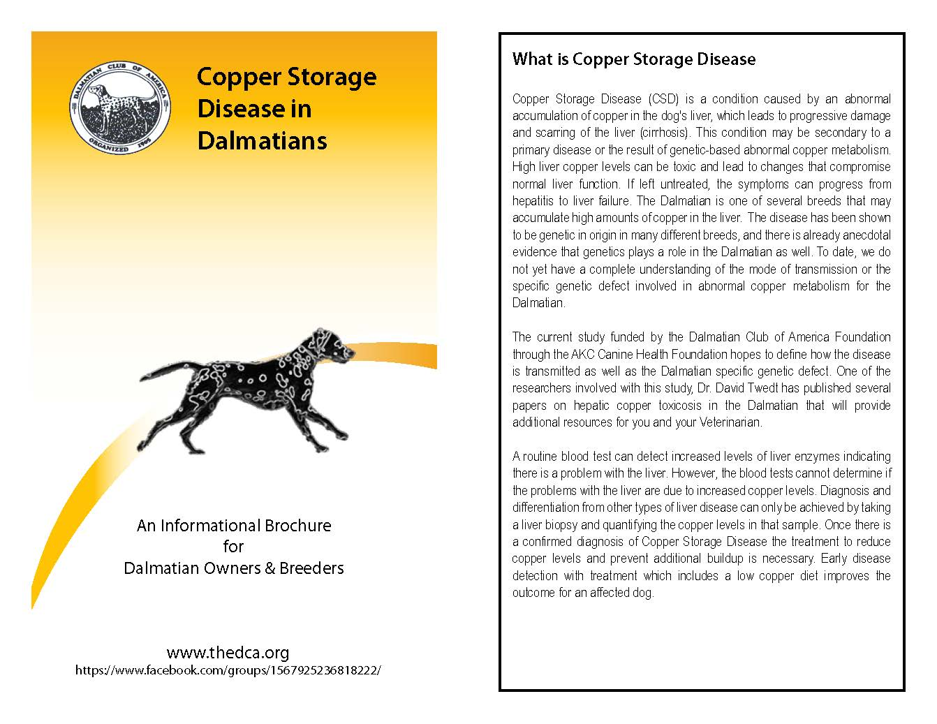 Copper Storage Disease Pamphlet